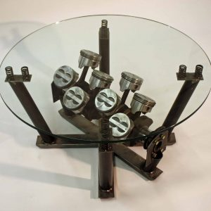 5.7 liter coffee table metal and glass