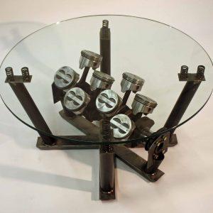 5.7 liter coffee table metal and glass