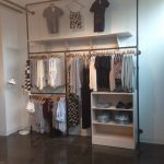clothing display rack metal and wood commerical