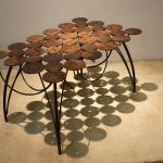 constellation steel coffee table acid etch texture with brass inlays