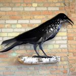 metal crow 2D sculpture