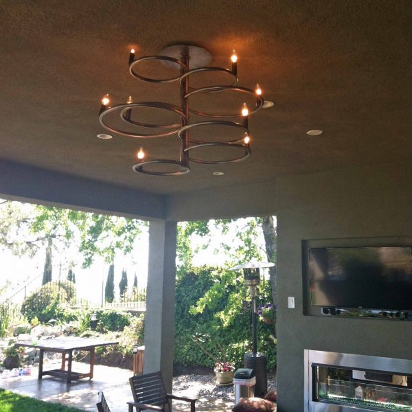 custom metal chandelier installed