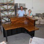 custom desk wood and metal