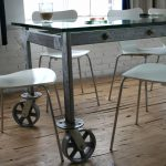 Earl metal and glass conference table with wheels