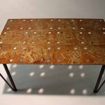 square gusset metal acid etch coffee table