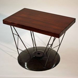 metal and wood harrow disc table