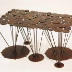 lilypad steel coffee table acid etch texture
