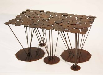 lilypad steel coffee table acid etch texture