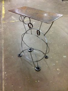 lunar lander steel table