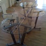modular table metal and glass