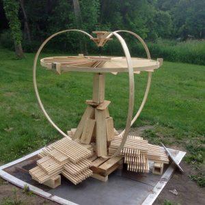 Peshtigo wood kinetic fire sculpture
