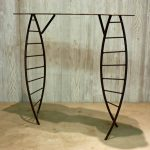 metal Scorpius console table acid etch texture and inlay